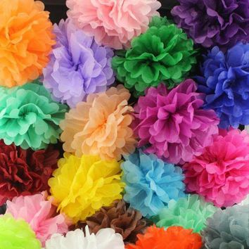 ac NOOW2 5pcs/Pack 15cm,20cm,25cm Lavender/Purple Tissue Paper Pom Poms For Baby Birthday Party Wedding Party Decoration Colorful