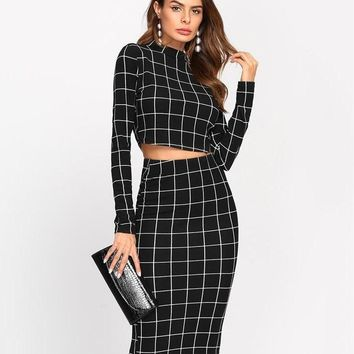 Stand Collar Long Sleeve 2 Piece Set Crop  Top & Pencil Skirt  Elegant Set