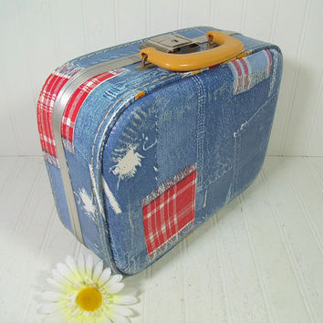 Vintage Shabby Chic Denim-Look Vinyl Child Size Suitcase with Working Key - Retro Overnight Small Carry All - BoHo Wedding Card Basket / Box
