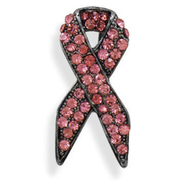 Pink Crystal Ribbon Fashion Pin