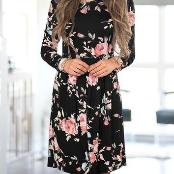 Women's Black with Pink Flowers Floral Long Sleeve Empire Waist Dress