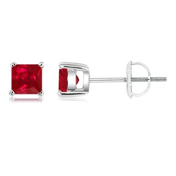 Classic Four Prong Set Square Ruby Basket Stud Earrings