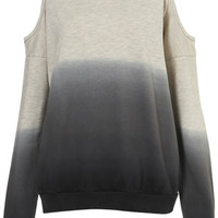 DIP DYE OPEN SHOULDER SWEAT