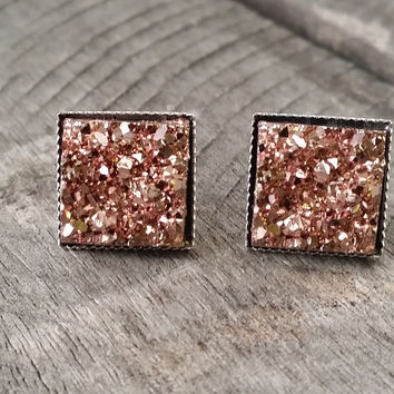 Druzy earrings-  Rose gold chunky square drusy silver tone stud druzy earrings