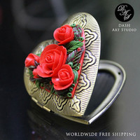 Red roses heart pendant - Secret pendant locket - Valentine's best gift for her - Bronze chain pendant - Polymer clay floral jewelry