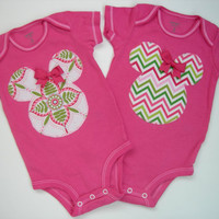 Hand Dyed Minnie Mouse Applique Onesuit Set