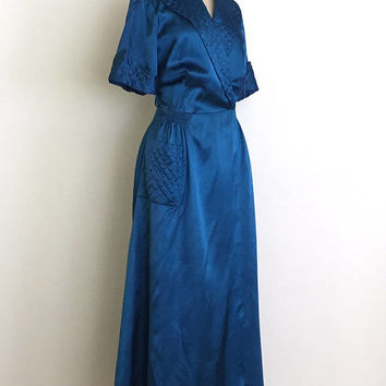 vintage 1940s robe | 40s quilted satin dressing gown