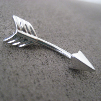 Silver Finish Arrow Belly Button Jewelry Ring- 14 Gauge Eyebrow Conch Snug Ear Piercing Navel Bar Barbell 14g G Stud