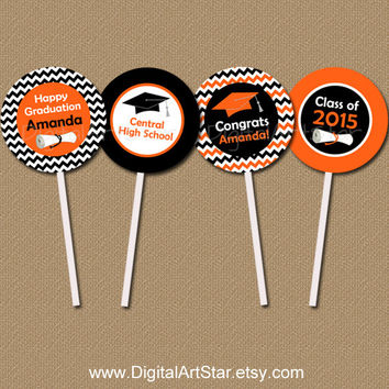 Graduation Cupcake Toppers - Personalized Graduation Party Decorations - Printable 2015 Tags - Black Orange Chevron Favor Stickers Diplomas