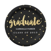 Gold Grad | Triangles | Graduation Party Plates 7 Inch Paper Plate