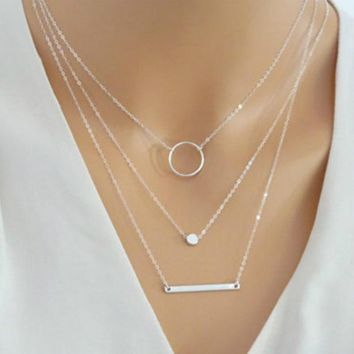 2018 New Choker Fashion Wild Aperture Metal Rods Necklace Gold Silver Layered Necklace For Women Charm Gift Jewellery