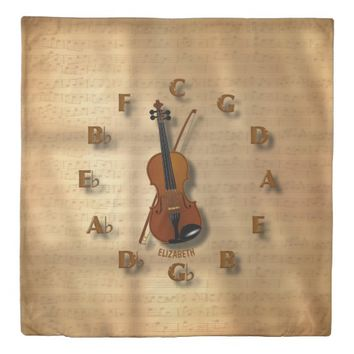 Vintage Violin Clock With Circle Of Fifths Music Duvet Cover