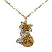 Crystal 14k Gold Over Silver Fox Pendant Necklace (Gold Tone)