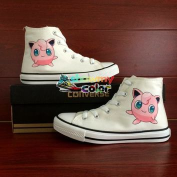 Pokemon Go Converse Chuck Taylor High Top Canvas Shoes Jigglypuff Design Hand Painted Sneakers Women Men Christmas Gifts