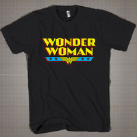 Wonder Women Logo Text  Mens and Women T-Shirt Available Color Black And White