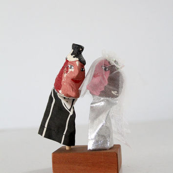 SALE folk art wedding puppets, vintage finger puppets