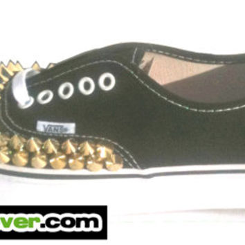 Studded Vans Authentic Black Gold Round Pyramid Studs - FREE SHIPPING - by Bandana Fever