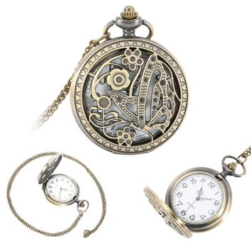 Vintage Pocket Watch Butterfly Flower Hollow Out Cover Quartz Watch Pendant Necklace Sweater Chain Clock Gifts  For Lover LL@17