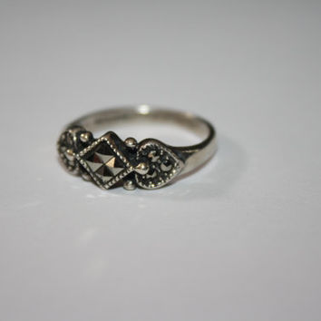 Size 9 Hematite black Vintage Sterling Silver Band Ring Size 9 - free ship US