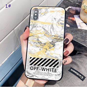Off White Fashion New Letter Marble Print Marble Phone Case Protective Cover 1#