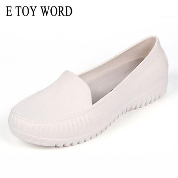 E TOY WORD Round Toe Shallow mouth Flats shoes Female Comfortable Casual loafers non-slip Nurse Work Shoes Woman XWX4062