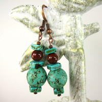 Turquoise Copper Earrings, Howlite and Fancy Jasper gemstones, Rustic, Boho earrings