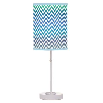 Blue Green White ZigZag Chevron Desk Lamp