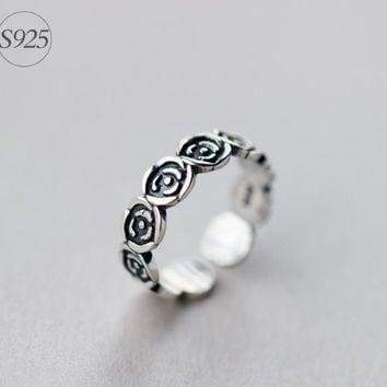 Retro 925 Sterling Silver rose ring,retro adjustable silver rose ring, a perfect gift