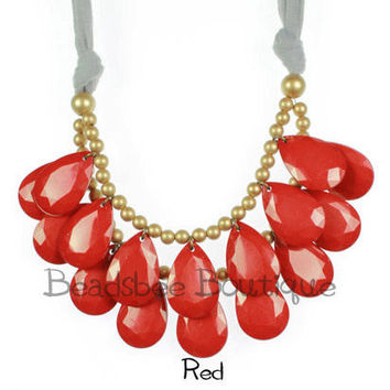 Anthropologie Red Necklace, Bib Necklace, Red Statement Necklace, Tear Drop Necklace, Statement Necklace