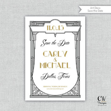 "Art Deco Save the Date, CW Designs, Personalized Invitation, Custom Invitations and Stationery  ""The Carly"" Save the Date"