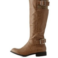 Taupe Riding Boots with Buckles & Knit Shaft by Charlotte Russe