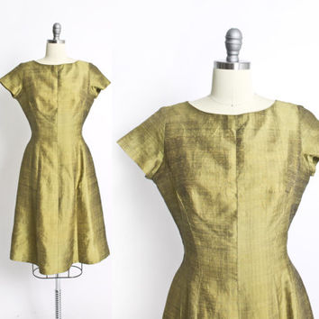 Vintage 60s Dress - Thai Raw Silk Chartreuse Short Sleeve Cocktail Party dress 60s - Small S