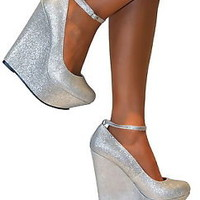 LADIES SILVER GLITTERY PLATFORM WEDGE HIGH HEELS ANKLE STRAPPY SHOE SANDAL PARTY