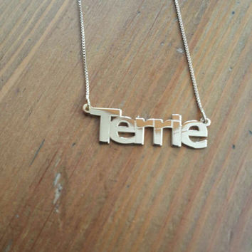 Name Necklace Terrie Name Necklace Xmas Gift Terrie Necklace Silver Name Disc Necklace Trendy Necklaces Collier Prénom Christmas Gift Silver