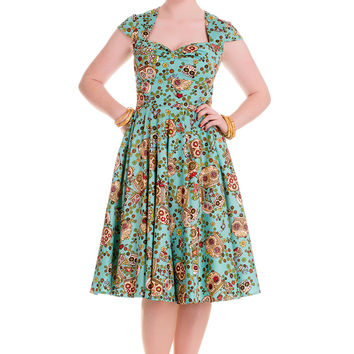 Hell Bunny Calavera Day of the Dead Flower Sugar Skull Flare Party Dress