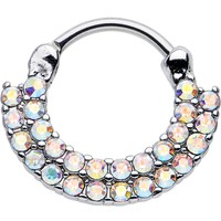 "16 Gauge 3/8"" Aurora CZ Double Row of Glamour Septum Clicker"