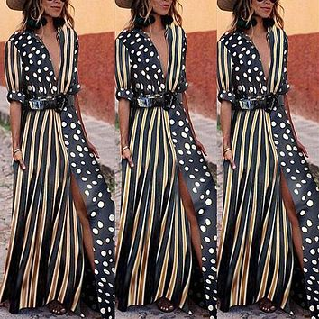 Autumn and winter sexy striped wave point color matching sleeve dress women's clothing