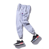 Autumn and winter tide brand trousers trousers plus velvet cashmere basketball leisure sports foot pants Gray