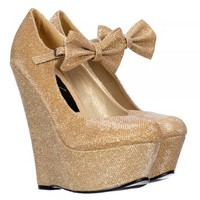 Onlineshoe Mary Jane High Wedge Platform Bow Shoes - Dark Nude, Gold, Silver Purple Glitter - Onlineshoe from Onlineshoe UK