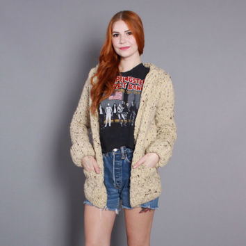 70s Cozy WOOL CARDIGAN / 1970s Thick Chunky Marled Wool SWEATER Coat