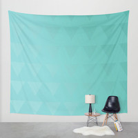 Hanging Tapestry - Cyan - Wall Tapestry - Tri-Shades CyanTriangles - Large Wall Hanging - Blue - Aqua - Home Decor - Made to Order
