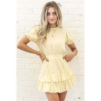 Let's Get Together Ruffled Yellow Dress