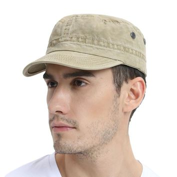VOBOOM Khaki Men Military Hat Summer Spring Fall Washed Cotton Army Cap Adjustable Captain Hats 162