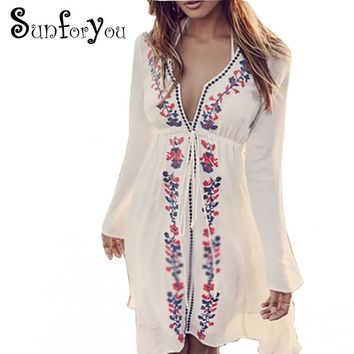 Embroidery Beach Cover up 2018 Swimsuit cover up Tunics for Beach Pareos Robe de Plage Cotton Bathing suit Cover ups Beachear