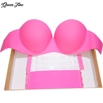 Sexy Self Adhesive Magic Push Up Bra Strapless Invisible Bras Side Closure Bras Cup B bra