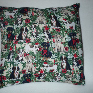 Christmas Pillow Cover, Decorative Pillow Cover,Christmas Dogs Pillow Cover, 16 x 16  Christmas Holly, Christmas Puppies, Holiday Bows
