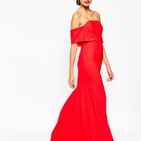 ASOS RED CARPET Soft Off Shoulder Fishtail Maxi Dress