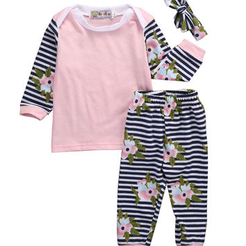 New 2016 fashion baby Girls clothes Newborn Infant Baby Girl Clothes Flower Top T-shirt+Pant Leggings Outfits Set