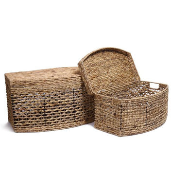 Seagrass Woven Lidded Baskets (Set of 2)