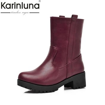 KARINLUNA Large Size 34-43 Vintage Snow Boots Square Med Heels Winter Shoes Women Add Fur Fashion Slip On Riding Boots Woman